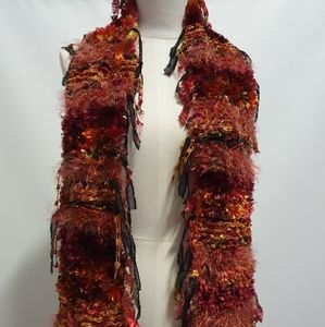 Multicoloured Warm fluffy Wool Knitted Scarf